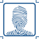 Fingerprint in the shape of an avatar to represent digital identity
