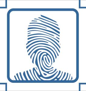 Fingerprint in the shape of an avatar to represent digital identity