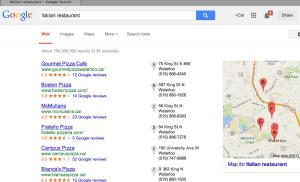 search results - italian restaurant