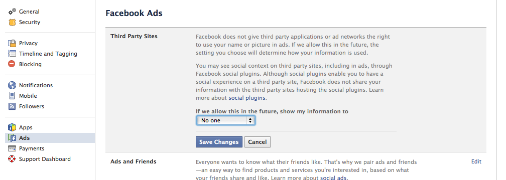 Facebook Ads settings screen