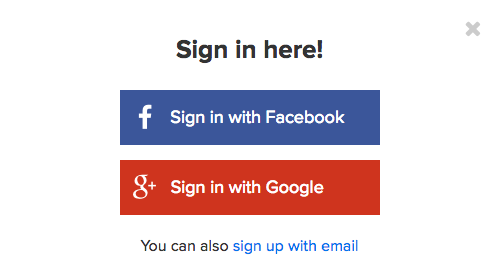 FB and Google Sign in page