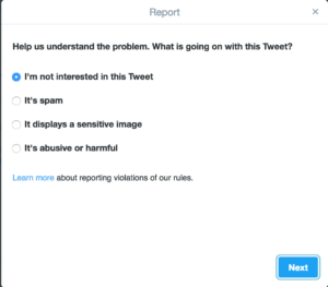 Troll - Twitter report page