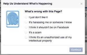troll - FB report page